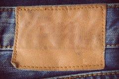 Etichetta del cuoio di Brown Fotografie Stock