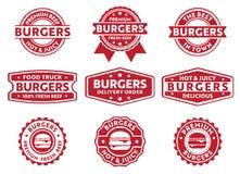 Etichetta del distintivo del bollo di vettore per il camion dell'alimento, ristorante, caffè, hamburger, bollettino di consegna,  Immagine Stock
