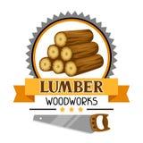 Etichetta del legname con la pila e la sega di legno Emblema per silvicoltura ed industria del legname royalty illustrazione gratis