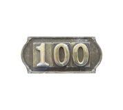 Etichetta del metallo con il numero 100 Immagini Stock