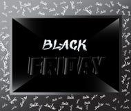 Etichetta del nero di vendita di Black Friday, insegna, disegno pubblicitario Immagine Stock Libera da Diritti
