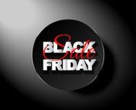 Etichetta del nero di vendita di Black Friday, insegna rotonda, pubblicità, illustrazione di vettore Immagine Stock Libera da Diritti