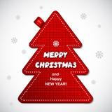 Etichetta del pino di Natale tricottata rosso Immagini Stock Libere da Diritti