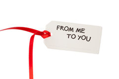 Etichetta del regalo con testo Immagini Stock Libere da Diritti