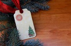 Etichetta del regalo di Natale Fotografie Stock Libere da Diritti