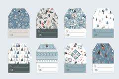 Etichetta del regalo di Natale messa nel retro stile Illustrazione di vettore immagine stock