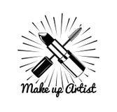 Etichetta del salone di bellezza Mascara per il rossetto dei cigli Trucco dell'occhio Illustrazione di vettore del distintivo Iso Immagini Stock