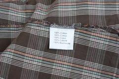 Etichetta del tessuto Fotografie Stock