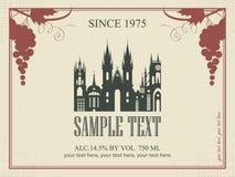 Etichetta del vino Fotografie Stock