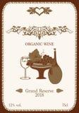 Etichetta del vino con l'ornamento organico illustrazione vettoriale