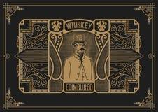 Etichetta del whiskey con le vecchie strutture Vettore stratificato Fotografia Stock Libera da Diritti