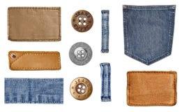 Etichetta dell'abbigliamento dell'etichetta dei jeans Fotografia Stock