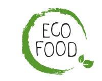 Etichetta dell'alimento di Eco e distintivi del prodotto di qualità Bio- organico sano, 100 bio- ed icona del prodotto naturale E illustrazione di stock
