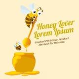 Etichetta dell'amante del miele con le api Immagine Stock