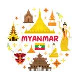 Etichetta dell'attrazione di viaggio del Myanmar Immagini Stock Libere da Diritti