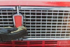 Etichetta dell'automobile di pulizia della mano dell'uomo Fotografia Stock Libera da Diritti