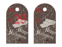 Etichetta dell'etichetta del partito di Halloween, stile d'annata Immagini Stock