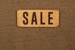 Etichetta dell'etichetta del cuoio di vendita Fotografie Stock
