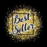 Etichetta dell'iscrizione del best-seller sul fondo dorato della polvere Immagine Stock