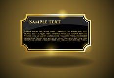 Etichetta dell'oro con il testo del campione Immagini Stock