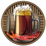 Etichetta della birra, birra e spuntino illustrati Fotografia Stock Libera da Diritti