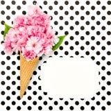 Etichetta della carta del cono della cialda del gelato del fiore del ciliegio Fotografia Stock
