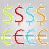 Etichetta della carta del dollaro e di Evro Immagine Stock Libera da Diritti
