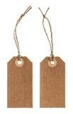 Etichetta della carta di Brown con corda isolata su bianco Immagine Stock Libera da Diritti