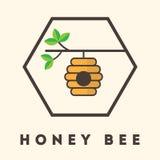 Etichetta della casa di ape del fumetto Immagini Stock Libere da Diritti