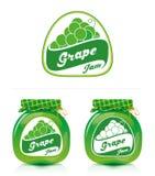 Etichetta della marmellata d'uva con il barattolo Fotografie Stock