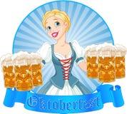Etichetta della ragazza di Oktoberfest Fotografia Stock Libera da Diritti