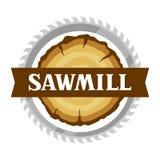 Etichetta della segheria con il ceppo e la sega di legno Emblema per silvicoltura ed industria del legname illustrazione di stock