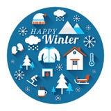 Etichetta delle icone di inverno Fotografia Stock