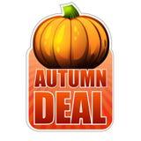 Etichetta di affare di autunno con la zucca di caduta Fotografie Stock Libere da Diritti