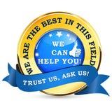 Etichetta di affari degli esperti - possiamo aiutarvi Immagine Stock