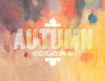 Etichetta di autunno di vettore sul fondo dell'acquerello Fotografia Stock