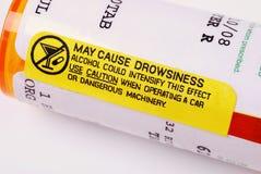 Etichetta di avvertimento - alcool Fotografia Stock