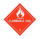 Etichetta di avvertimento del gas infiammabile Fotografia Stock