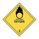 Etichetta di avvertimento dell'ossigeno Fotografie Stock