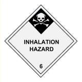 Etichetta di avvertimento di rischio di inalazione Fotografia Stock Libera da Diritti