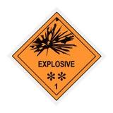 Etichetta di avvertimento esplosiva Fotografia Stock