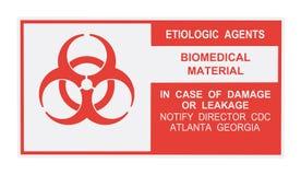 Etichetta di avvertimento eziologica degli agenti Fotografia Stock