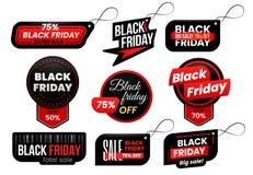 Etichetta di Black Friday Commercializzi le etichette di vendita, le vendite di compera firmano l'etichetta e l'insieme commercia illustrazione vettoriale