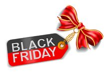 Etichetta di Black Friday con l'arco Fondo di shopping di festa Immagini Stock Libere da Diritti
