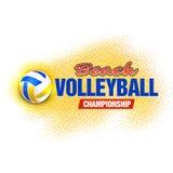 Etichetta di campionato di beach volley, insegna, emblema, logo, icona, progettazione dell'abito della maglietta Illustrazione di Fotografie Stock
