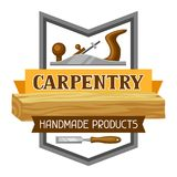 Etichetta di carpenteria con il jointer e la sega Emblema per silvicoltura ed industria del legname illustrazione di stock