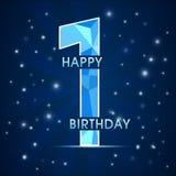 etichetta di celebrazione di compleanno di 1 anno, emblema decorativo del poligono di primo anniversario illustrazione di stock