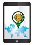 etichetta di consegna 24h, segno sulla compressa Fotografie Stock