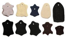 Etichetta di cuoio come simbolo dei prodotti d'abbronzatura naturali di qualità Fotografia Stock Libera da Diritti