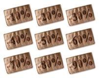 Etichetta di cuoio con gli sconti fissati Fotografia Stock Libera da Diritti
